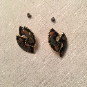 Black and Gold Cloisonné Pierced Earrings